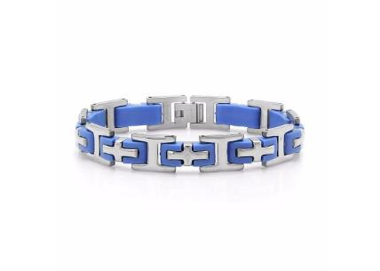 8&quot Mens Stainless Steel Cross Blue Rubber Brace