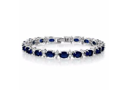 20.00 Ct Oval &amp Round Blue Color Cubic Zirconias