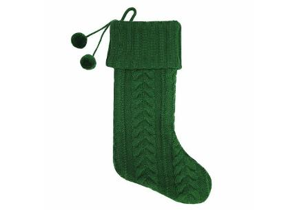 Green Cable Knit Christmas Stocking - Wondershop
